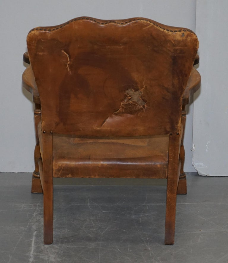 Coat of Arms Armorial Crest Edwardian Oak & Brown Leather Smart Club Armchairs For Sale 13