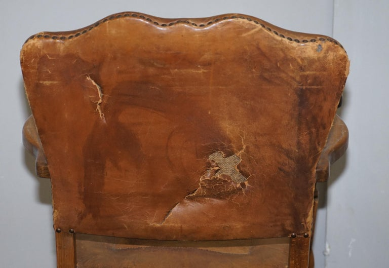 Coat of Arms Armorial Crest Edwardian Oak & Brown Leather Smart Club Armchairs For Sale 14