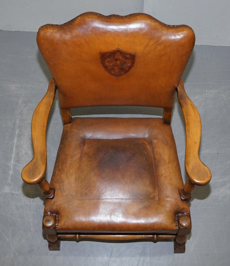Coat of Arms Armorial Crest Edwardian Oak & Brown Leather Smart Club Armchairs For Sale 2
