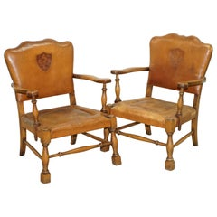 Coat of Arms Armorial Crest Edwardian Oak & Brown Leather Smart Club Armchairs