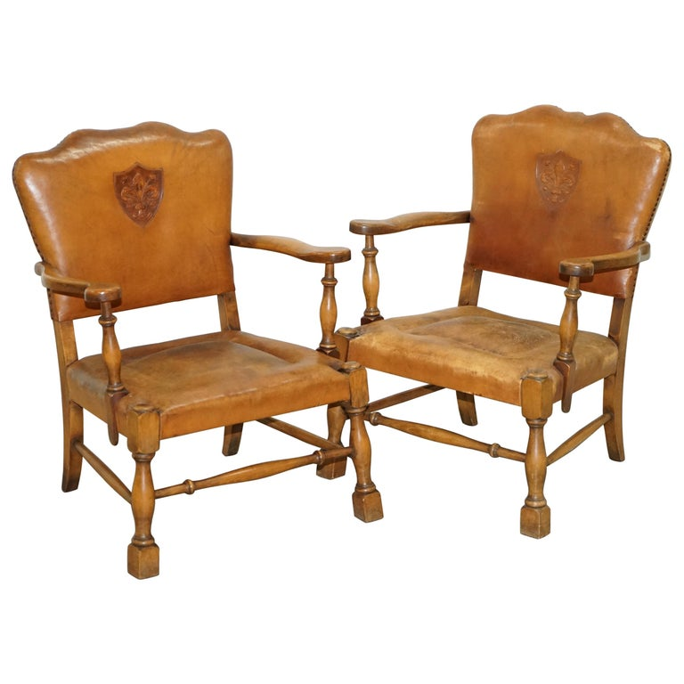 Coat of Arms Armorial Crest Edwardian Oak & Brown Leather Smart Club Armchairs For Sale