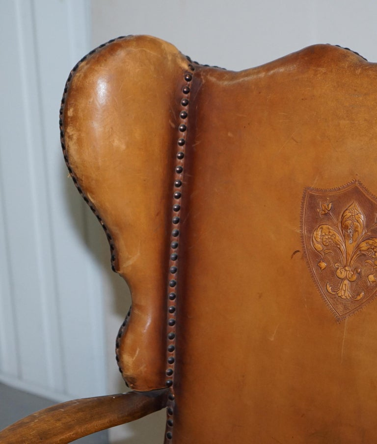 Coat of Arms Armorial Crest Edwardian Oak and Brown Leather Wingback Armchairs For Sale 12