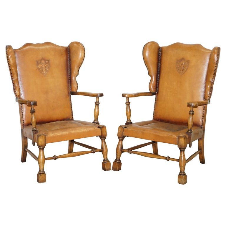 Coat of Arms Armorial Crest Edwardian Oak and Brown Leather Wingback Armchairs For Sale