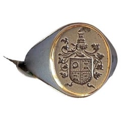 Coat of Arms Steel Gold Portuguese Nobility Mens Signet Ring