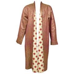 Coat or Banyan in Gold Lamé and Russian Cotton Print - Uzbekistan Circa 1920