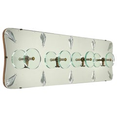 Coat Rack Hanger in Mirror, Brass and Glass by Cristal Art, Italy, 1950s