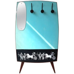 Coat Rack with Mirror and Persian Motif on Original Eco-Friendly Leather, 1950s