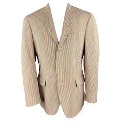 COAT Size 40 Beige & Red Blue Striped Seersucker Notch Lapel Sport Coat