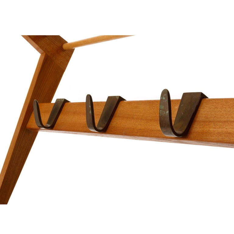Coatrack Hatrack Coat Hat Rack Wardrobe, Wood Patinated Brass Hooks, 1950s In Good Condition For Sale In Vienna, AT