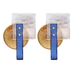 Cobalt and Gold Murano Glass Sconces