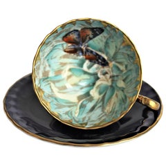 Cobalt Aynsley English Bone China Hand Painted Butterfly Tea Cup and Saucer Set