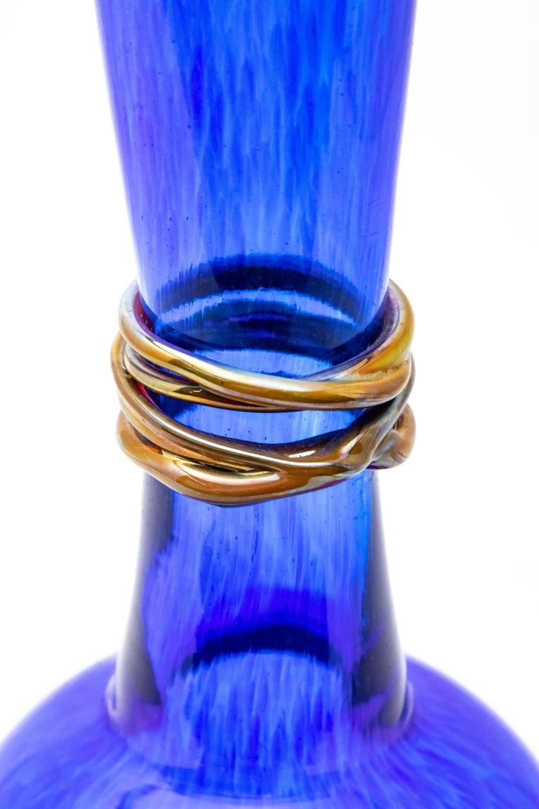 Folk Art Cobalt Blue Bud Vase, 2004 by Ignis For Sale