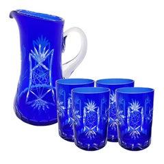 Cobalt Blue Cut Crystal Pitcher and Tumbler Glassware Set of 5 after Baccarat
