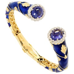 Cobalt Blue Enamel Gold Bangle Bracelet with Tanzanite and Diamonds Stambolian