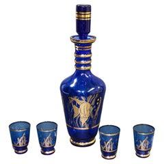 Cobalt Blue Enameled Glass Liquor Set Decanter and Glasses