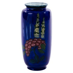 Cobalt Blue English Art Deco Hollyhock Vase by Adderley