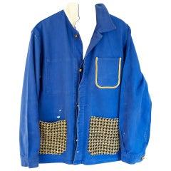 Cobalt Blue French Work Wear Jacket Gold Tweed White Silk Gold Buttons J Dauphin