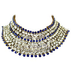 Cobalt Blue Glass and Sparkling Ice Rhinestone Choker Necklace