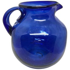 Cobalt Blue Glass Pitcher
