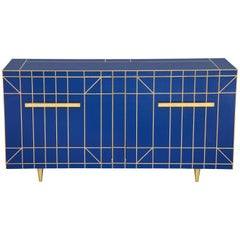 Cobalt Blue Glass with Brass Inlay Mirrored Sideboard, Spain, 2019