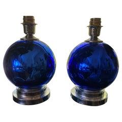 Cobalt Blue Mercury Glass Lamps