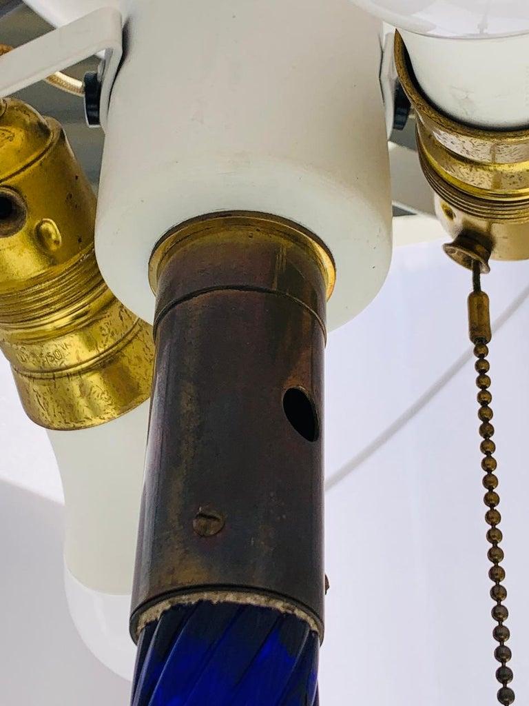 Cobalt Blue Murano Glass & Brass Floor Lamp For Sale 4