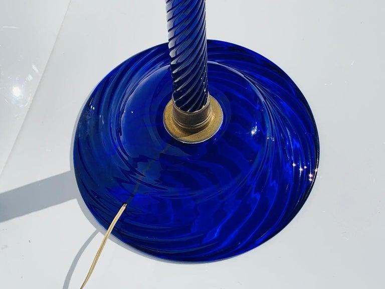 Cobalt Blue Murano Glass & Brass Floor Lamp For Sale 5