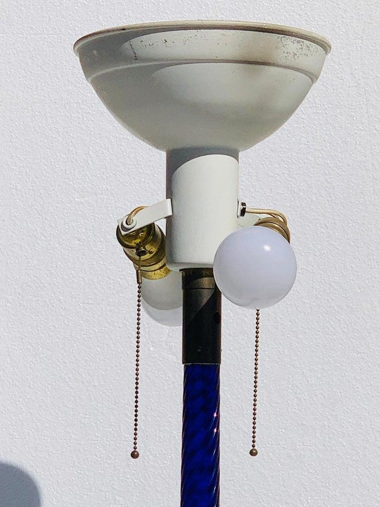 Cobalt Blue Murano Glass & Brass Floor Lamp For Sale 6
