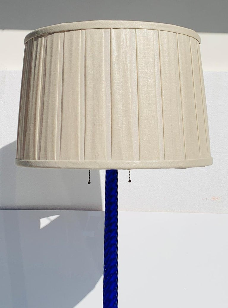Mid-Century Modern Cobalt Blue Murano Glass & Brass Floor Lamp For Sale
