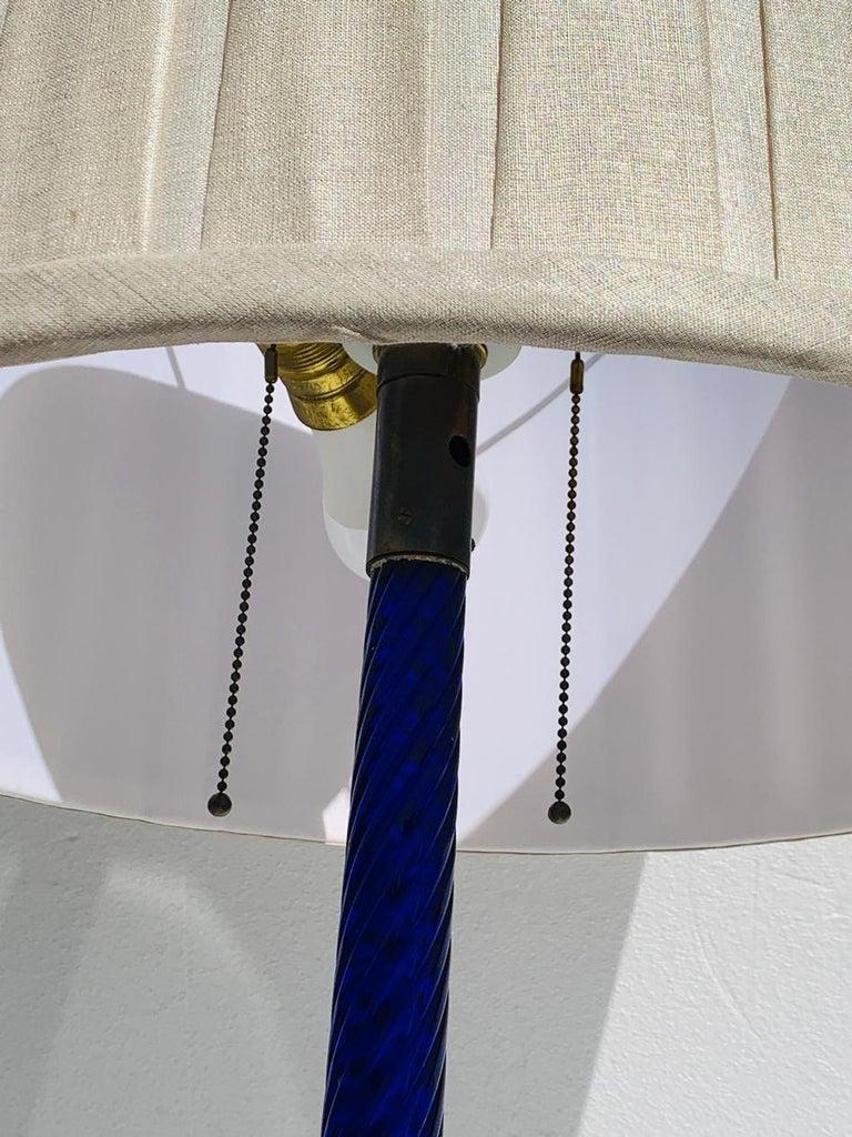 Italian Cobalt Blue Murano Glass & Brass Floor Lamp For Sale
