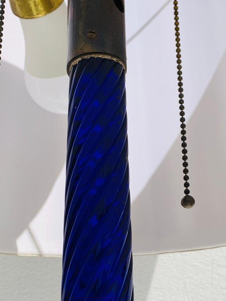 Cobalt Blue Murano Glass & Brass Floor Lamp For Sale 3