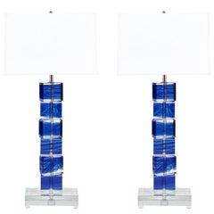 Cobalt Blue Murano Glass Lamps