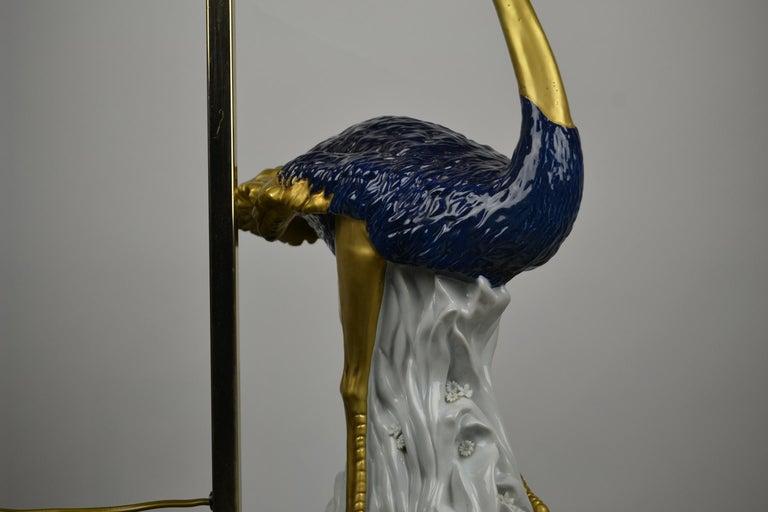 Cobalt Blue Ostrich Table Lamp, Porcelain, 1970s For Sale 5