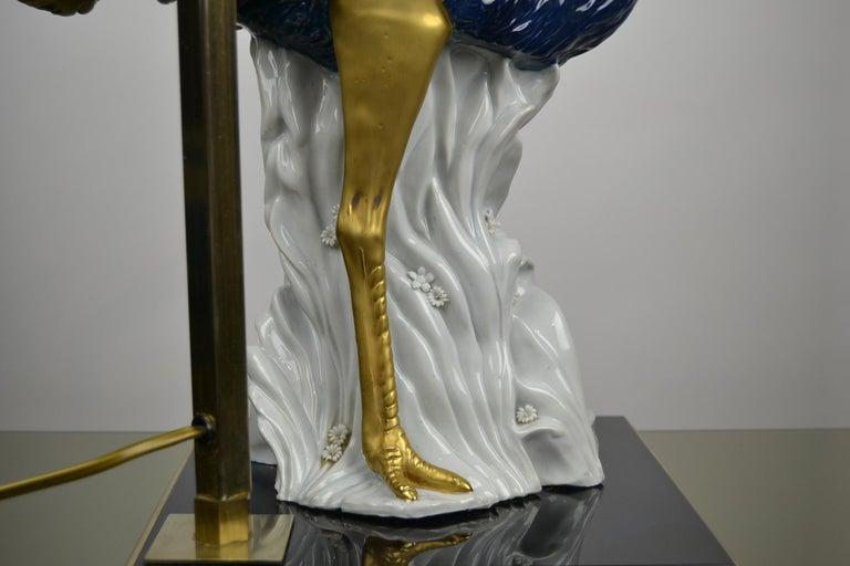 Cobalt Blue Ostrich Table Lamp, Porcelain, 1970s For Sale 6