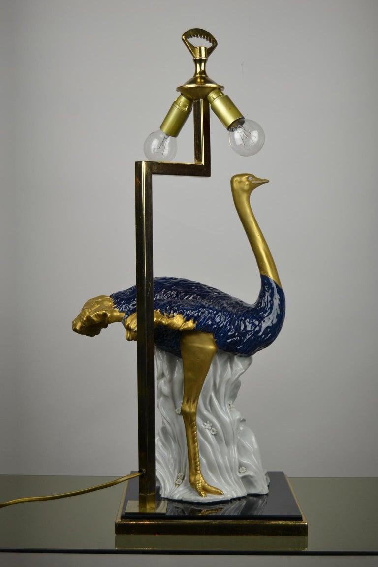 Cobalt Blue Ostrich Table Lamp, Porcelain, 1970s For Sale 9