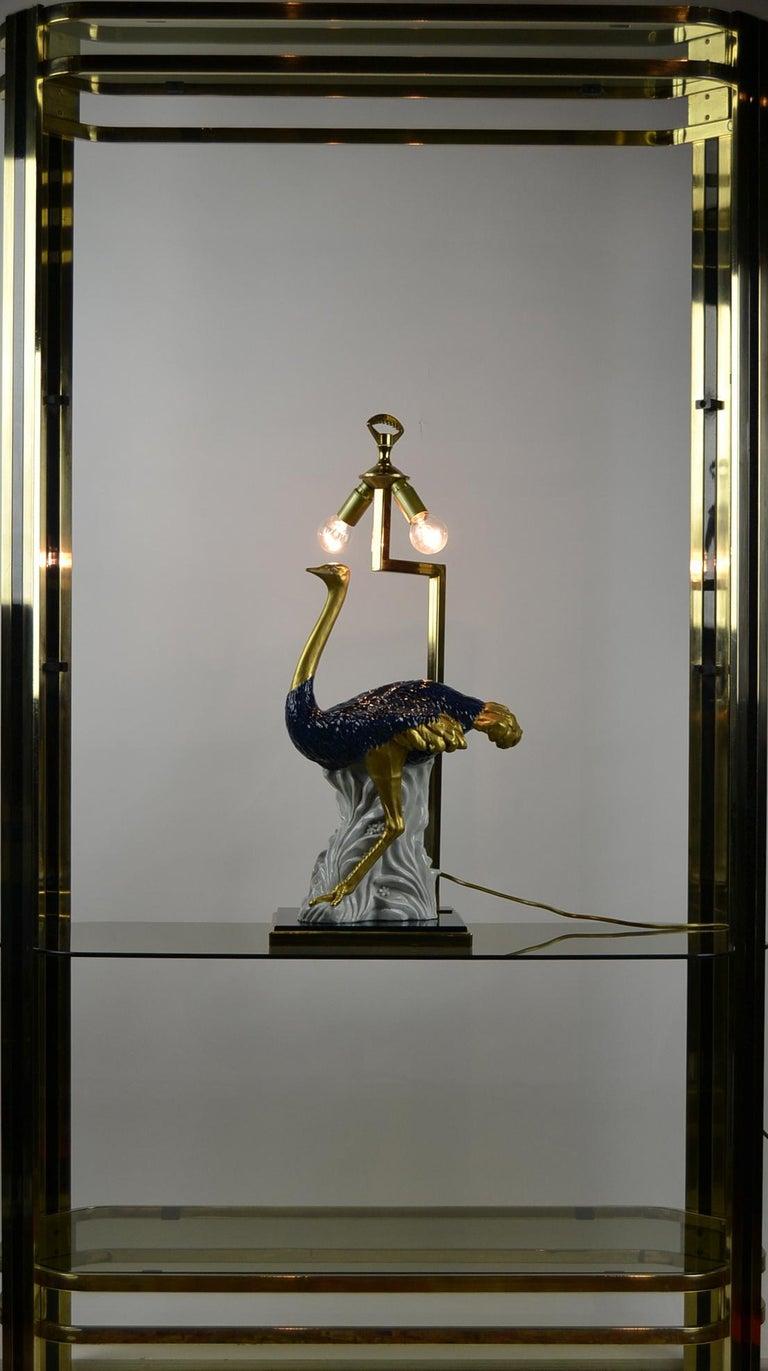 Cobalt Blue Ostrich Table Lamp, Porcelain, 1970s For Sale 11