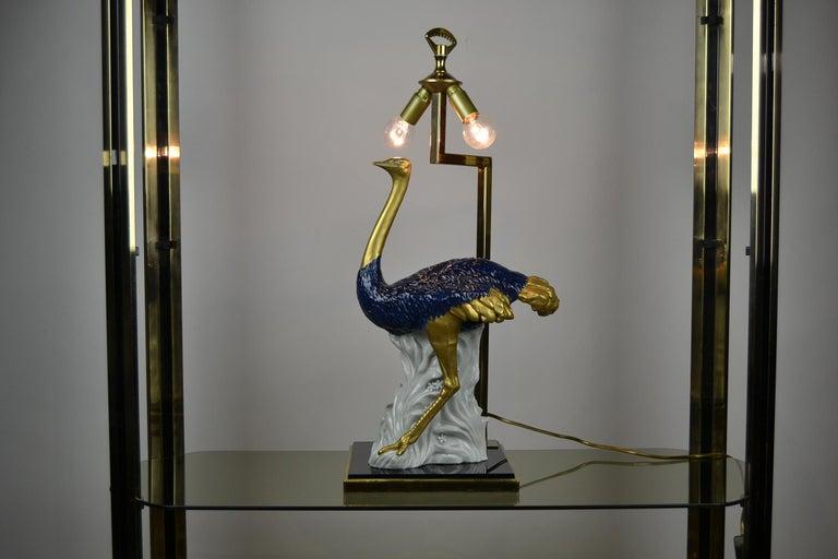 Brass Cobalt Blue Ostrich Table Lamp, Porcelain, 1970s For Sale
