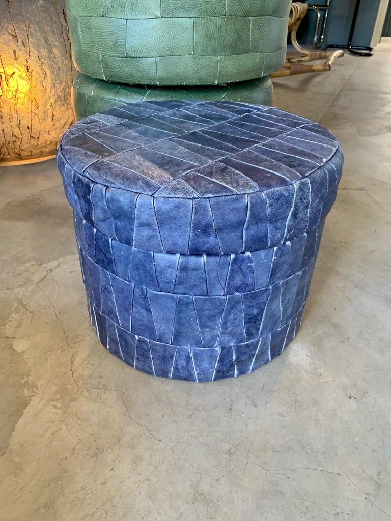 Swiss Cobalt Blue Patchwork Leather Storage Ottoman by De Sede For Sale