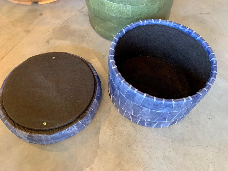 Cobalt Blue Patchwork Leather Storage Ottoman by De Sede In Good Condition For Sale In Los Angeles, CA