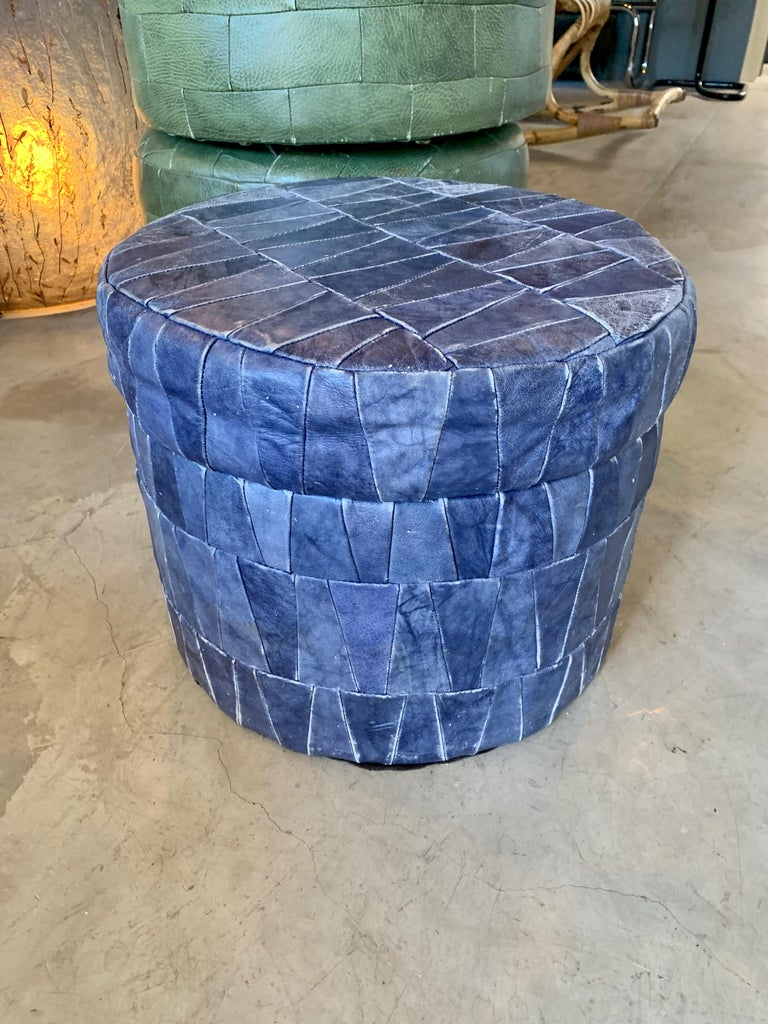 Late 20th Century Cobalt Blue Patchwork Leather Storage Ottoman by De Sede For Sale