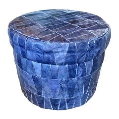 Cobalt Blue Patchwork Leather Storage Ottoman by De Sede