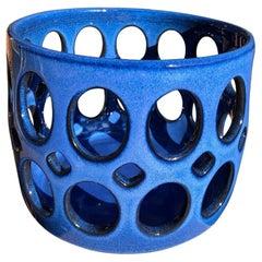 Cobalt Blue Pierced Cylindrical Ceramic Fruit Bowl