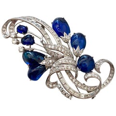 Vintage Vibrant Blue Sapphire and Diamond Platinum Brooch