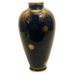 Cobalt Blue Sevres Vase Painted with Gold Accents Like Peacock Feathers