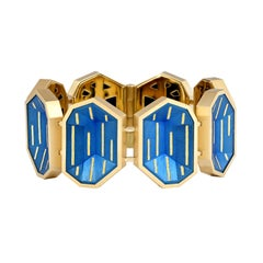 Geometric Cobalt Blue Steel and Gold bracelet by Zoltan David