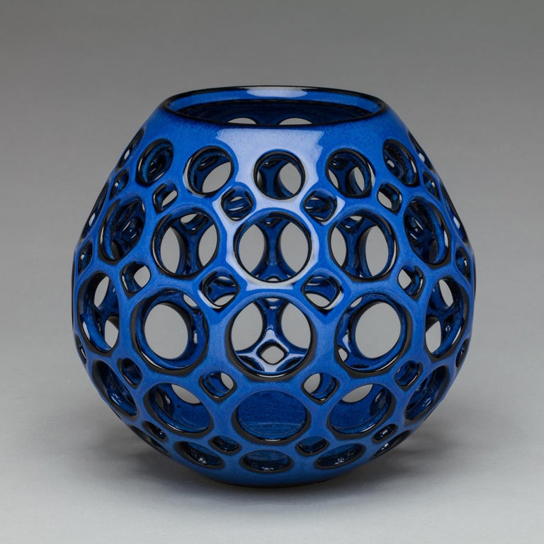 American Cobalt Blue Teardrop Tabletop Candleholder, in Stock For Sale