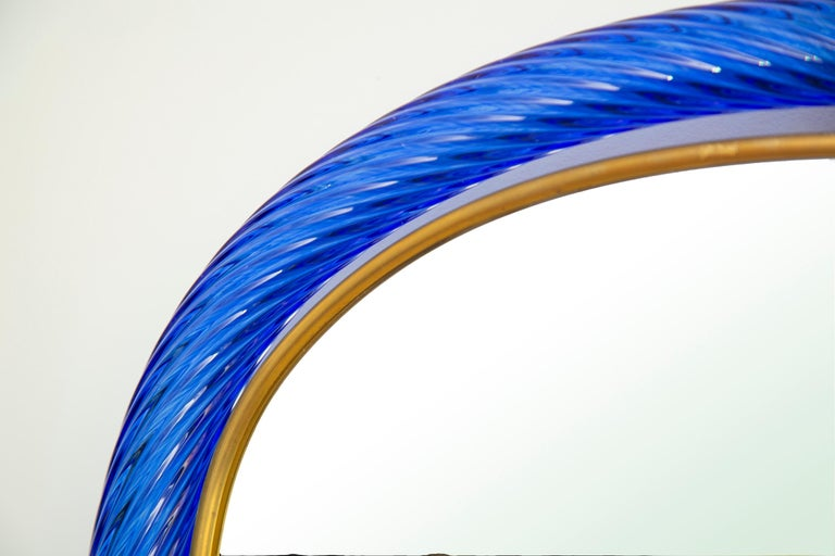 Cobalt Blue Twisted Rope Murano Glass Mirror, in Stock In New Condition For Sale In Miami, FL