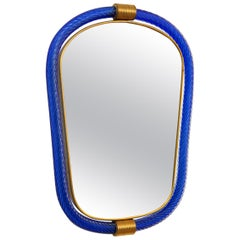 Cobalt Blue Twisted Rope Murano Glass Mirror, in Stock
