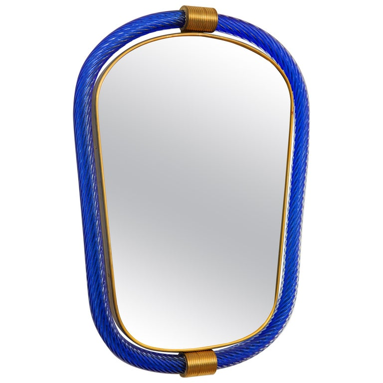 Cobalt Blue Twisted Rope Murano Glass Mirror, in Stock For Sale