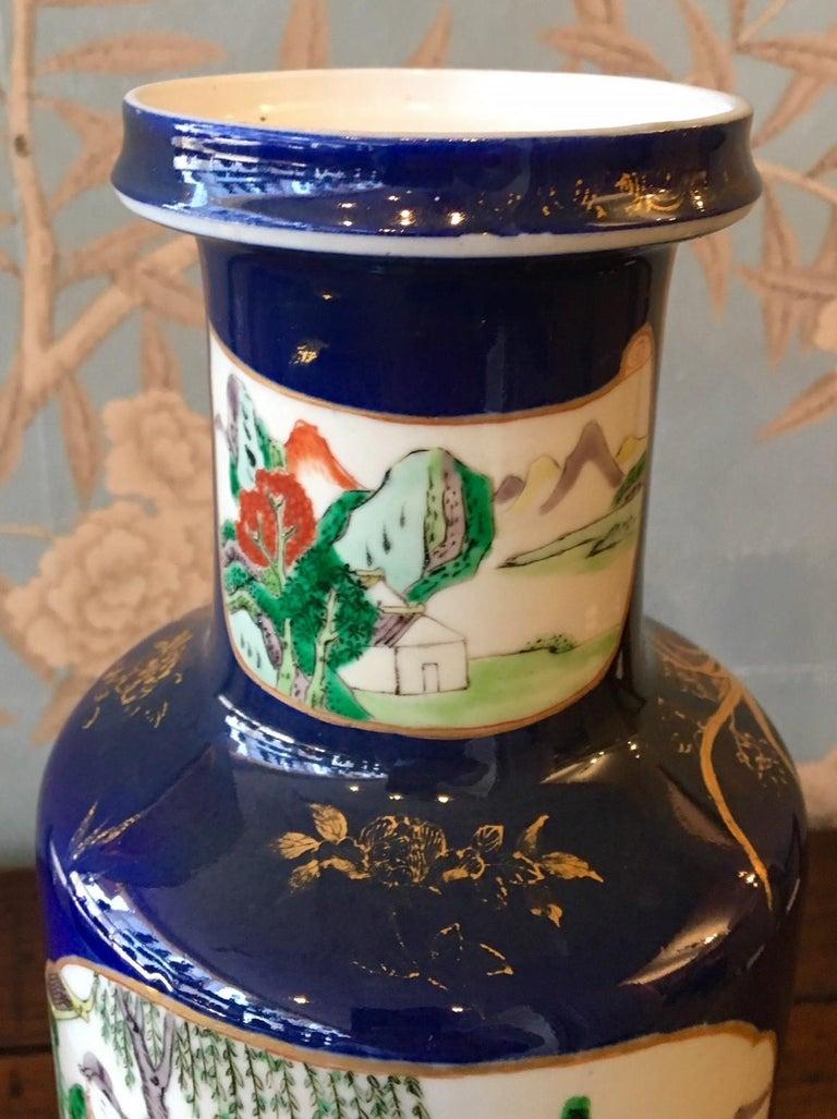 Hand-Painted Cobalt Blue Vase For Sale